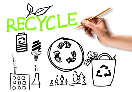 Recycle paper plastic garden waste reuse