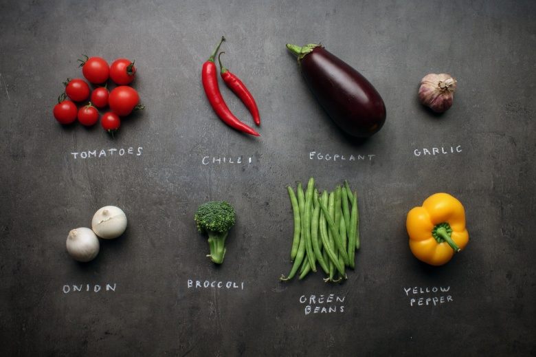 vegetables: tomatoes, chilli, eggplant, aubergine, garlic, onion, broccoli, beans, pepper