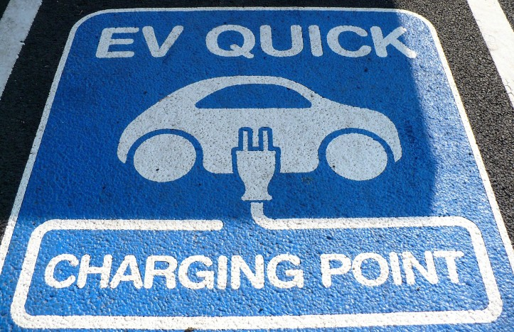 electric vehicle or car charging point sign on the floor