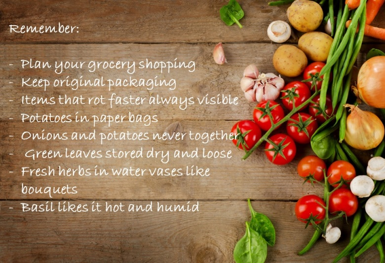 fresh vegetables wooden background with food conservation tips
