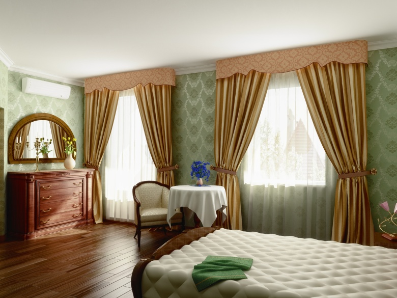 bedroom with brown curtains with pelmets