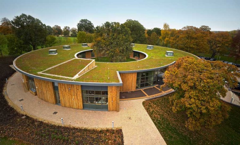 british horse society seen from sky with green roof