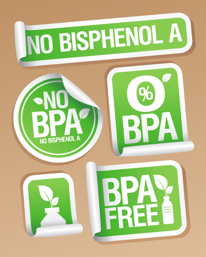 BPA-free label, no BPA label, no bisphenol A label in green on a light brown background