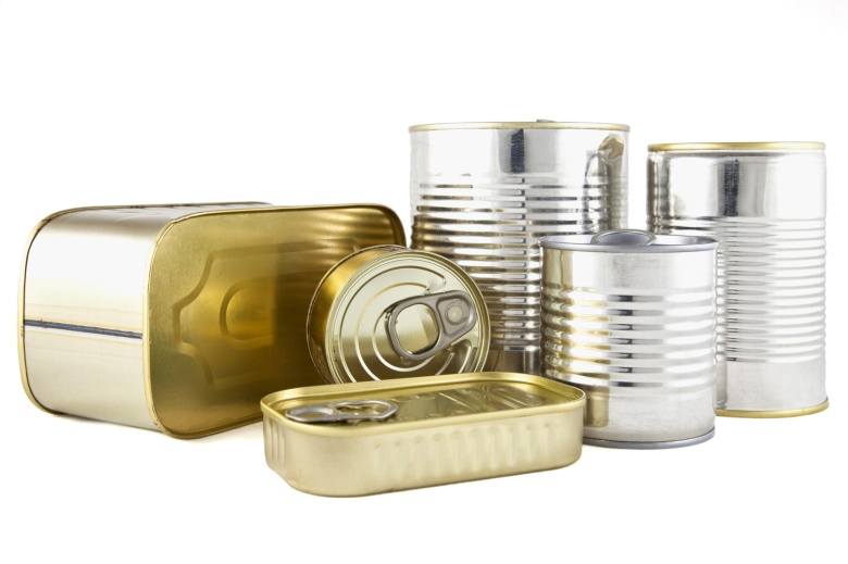 food cans without labels on a white background