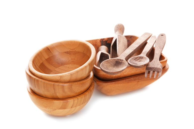 natural bamboo kitchenware or kitchen utensils in a white background