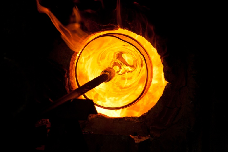 glass blowing manufacturing process in the oven