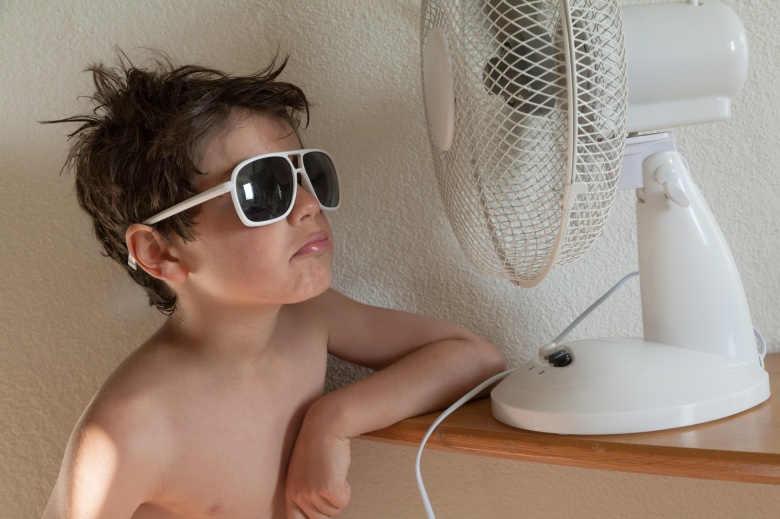 boy with sunglasses and a fan in a hot summer at home