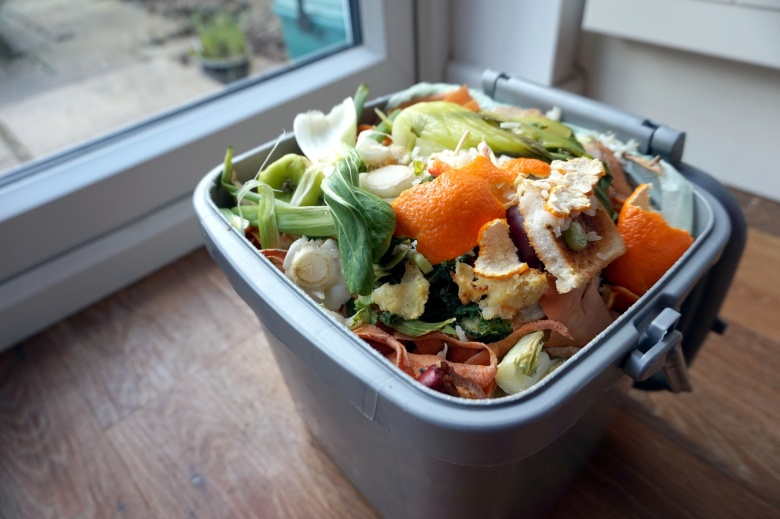 caddy with domestic food waste by glass window or door