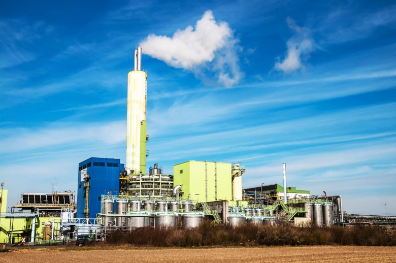 Waste incineration plant with stack in Germany