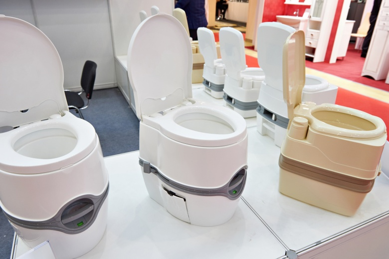 Portable toilets in shop at exhibition