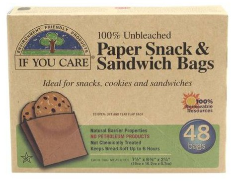 box with 48 bags of eco paper snack & sandwich bags from if you care brand