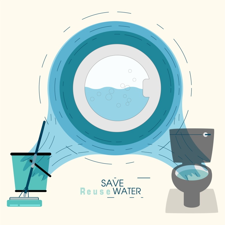 Operation of front door washer in ripples frame, on water flow background. Showing 2 way of reuse rinse water from washing machine. Lifestyle habit to save water concept. Vector illustration.