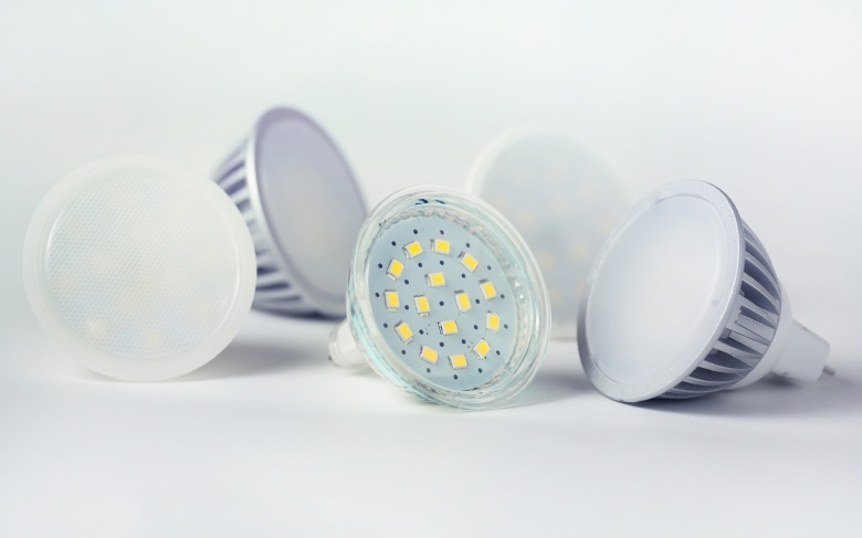 Group of led bulbs closeup on white background.