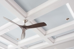 Ceiling Fan in front of the Coffered Ceiling